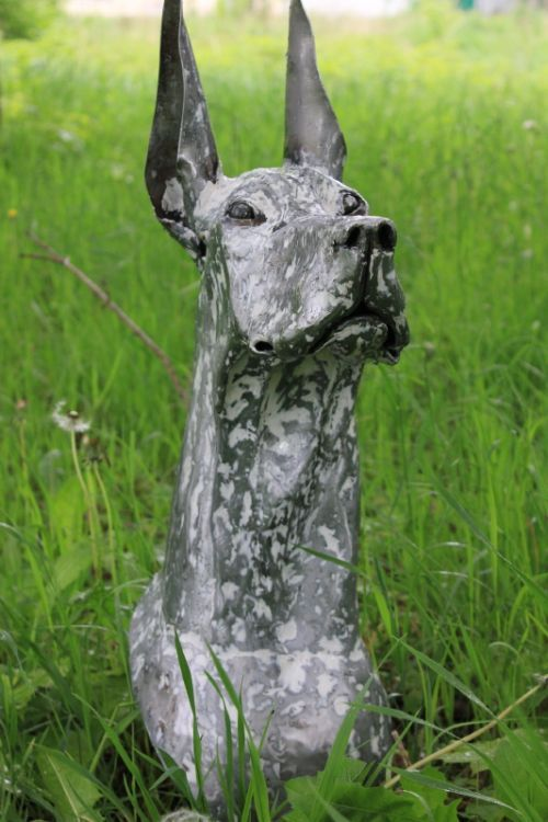 metal Great Dane sculpture