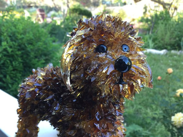dog sculpture of glass
