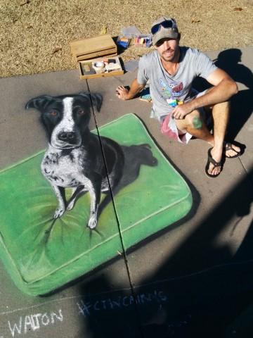 dog done in sidewalk chalk