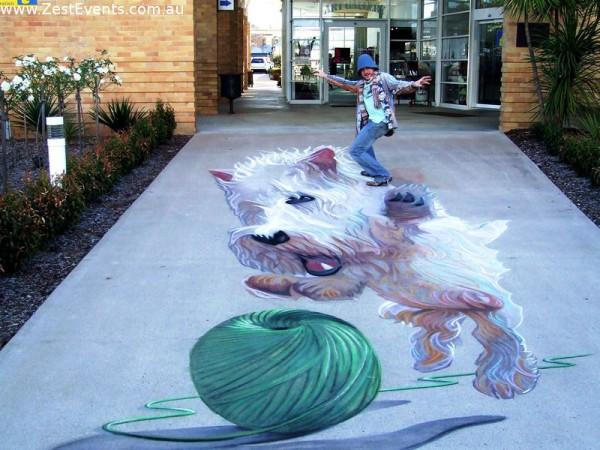 sidewalk chalk dog