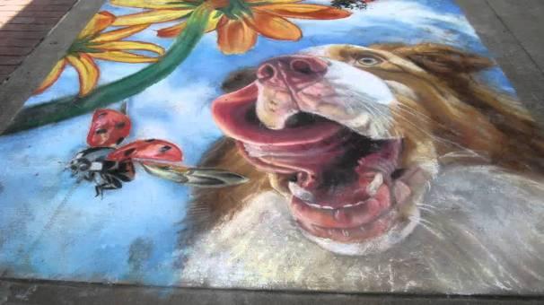 sidewalk chalk happy dog