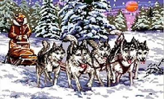 needlepoint huskies