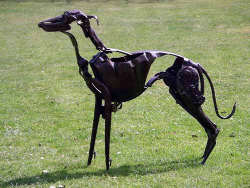 scrap metal dog sculpture