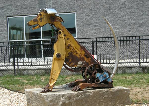 scrap iron dog sculpture