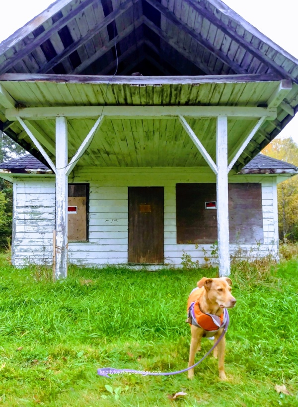 Olivia in front of an old general store