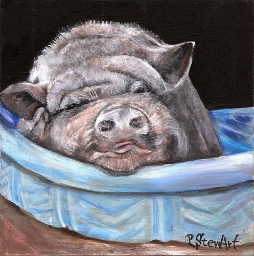 pig in a wading pool
